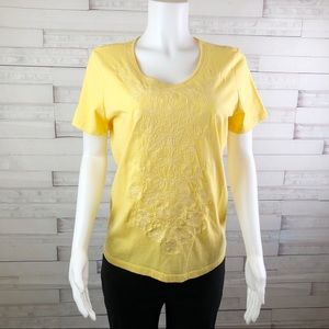 New! Laura Scott Embroidered Floral Top Yellow L